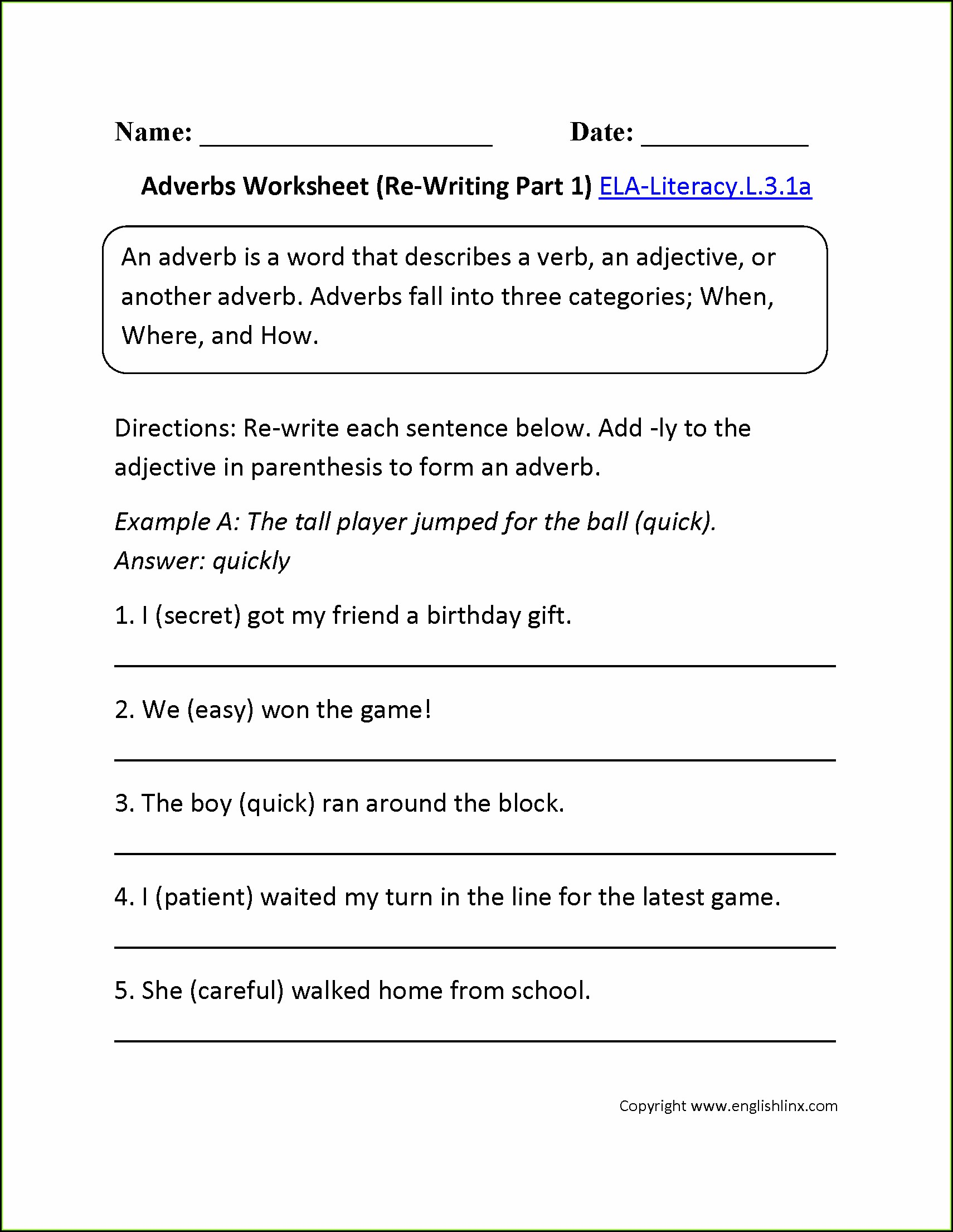 3rd Grade Adjectives And Adverbs Worksheets