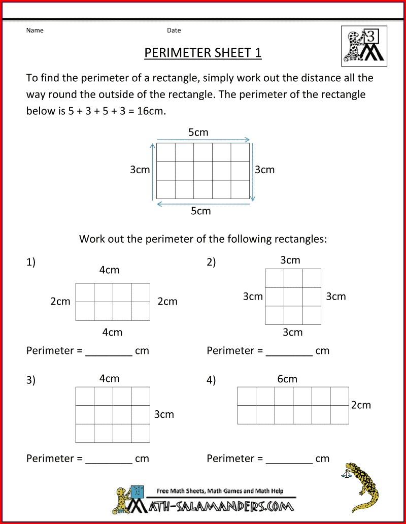 3rd Grade Area And Perimeter Worksheets