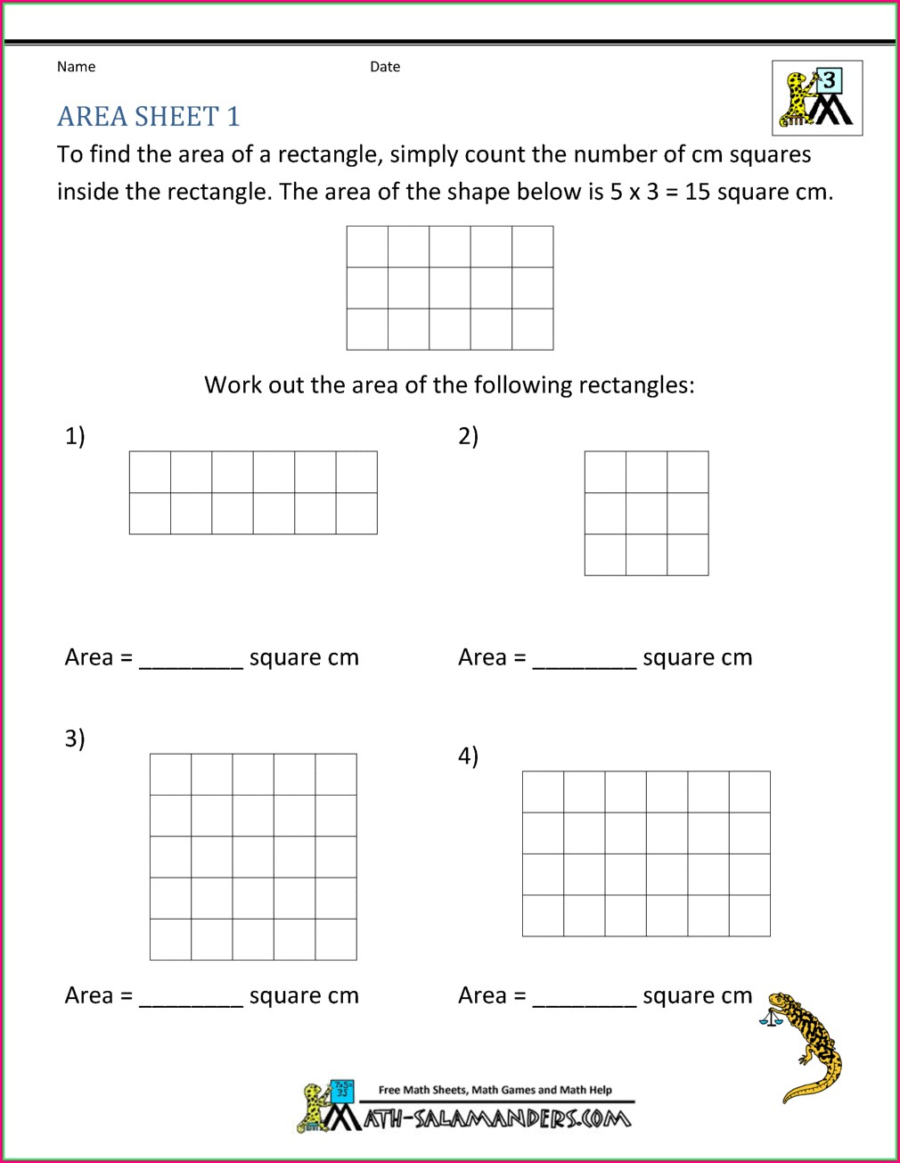 3rd Grade Area In Square Units Worksheets