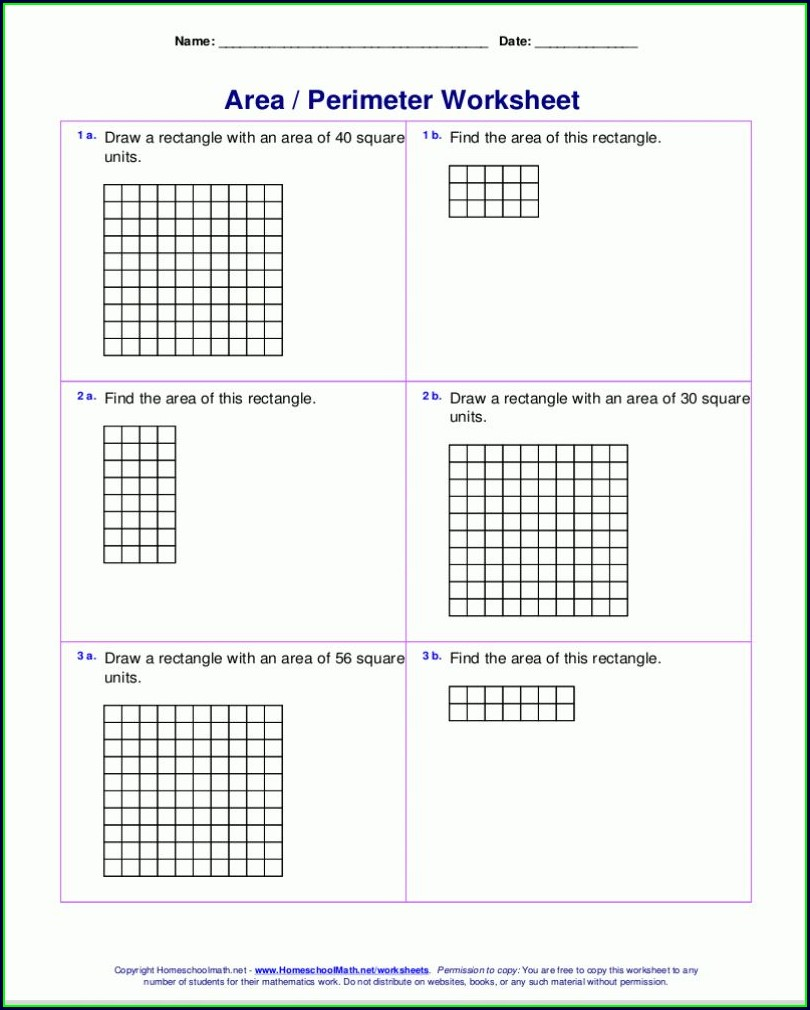 3rd Grade Area Worksheet