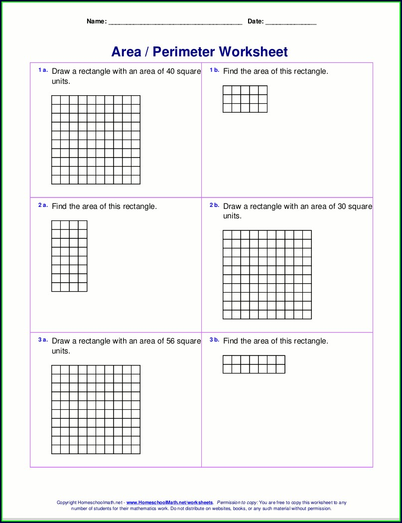3rd Grade Area Worksheets Pdf