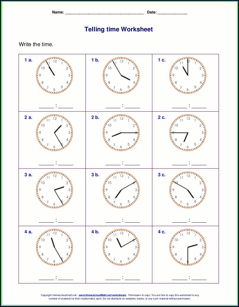 3rd Grade Clock Worksheets Grade 2
