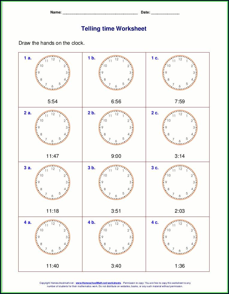 3rd Grade Clock Worksheets Grade 3