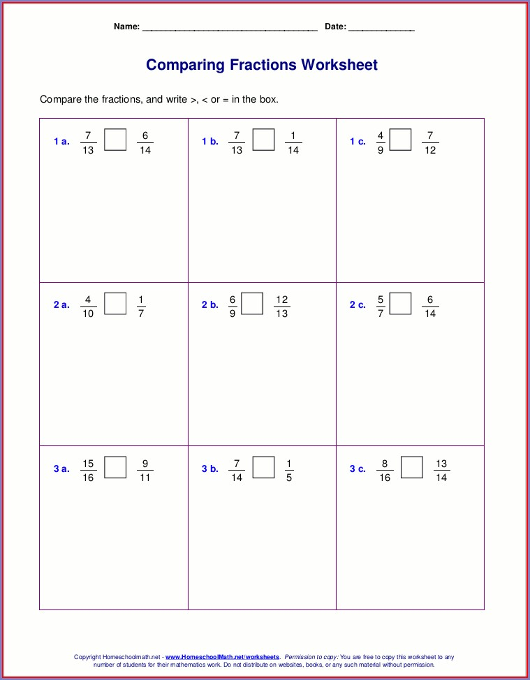 3rd Grade Comparing And Ordering Fractions Worksheet