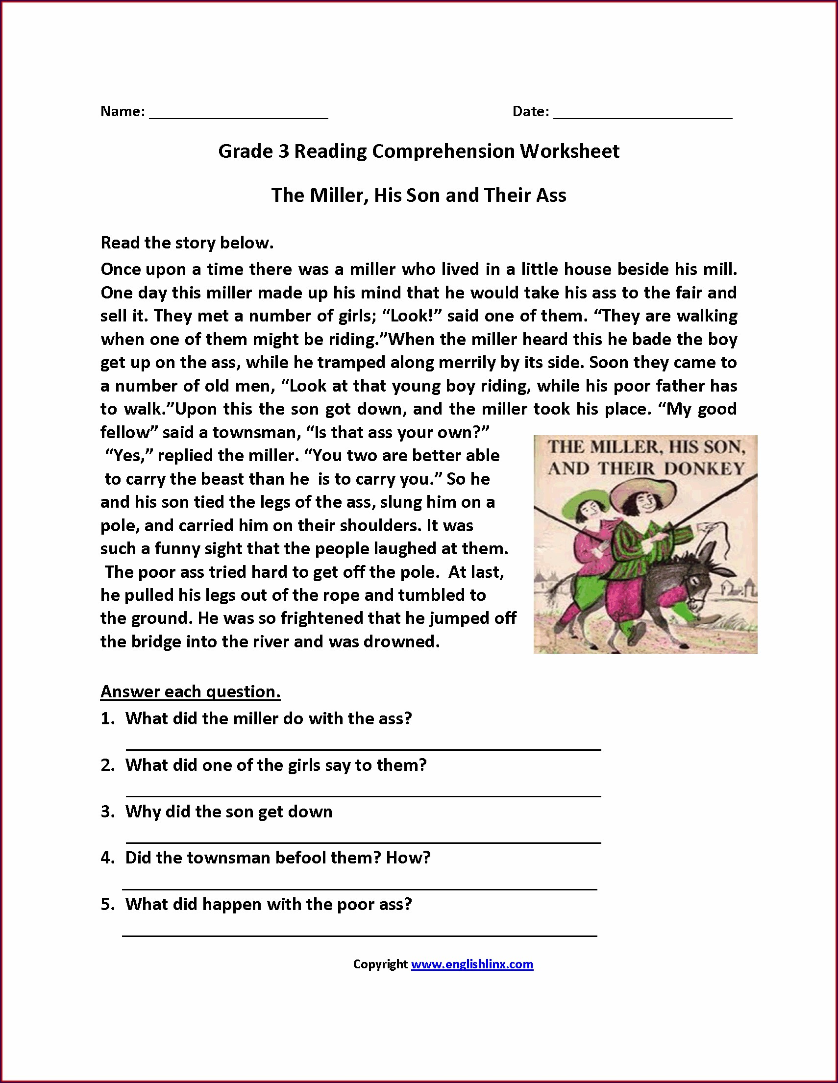 3rd Grade Comprehension Worksheet For Grade 3