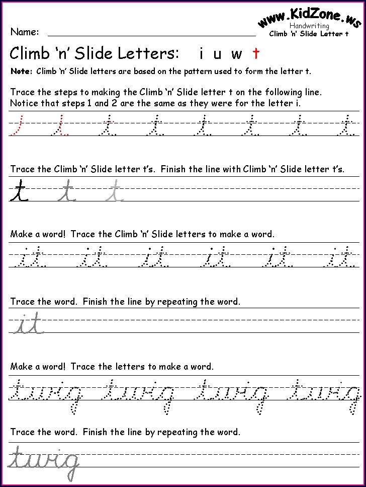 3rd Grade Cursive Writing Worksheet