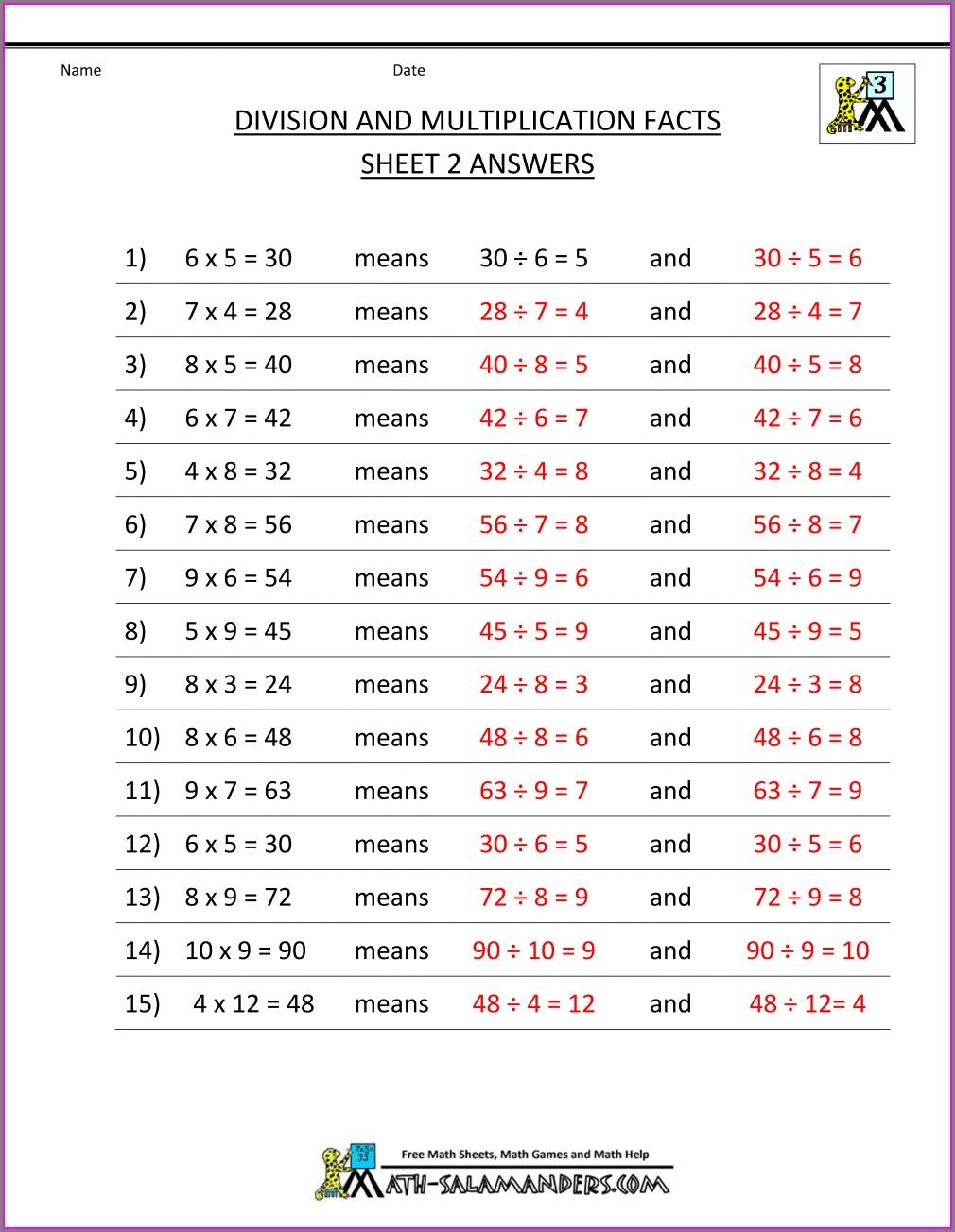 3rd Grade Division Printable Worksheets