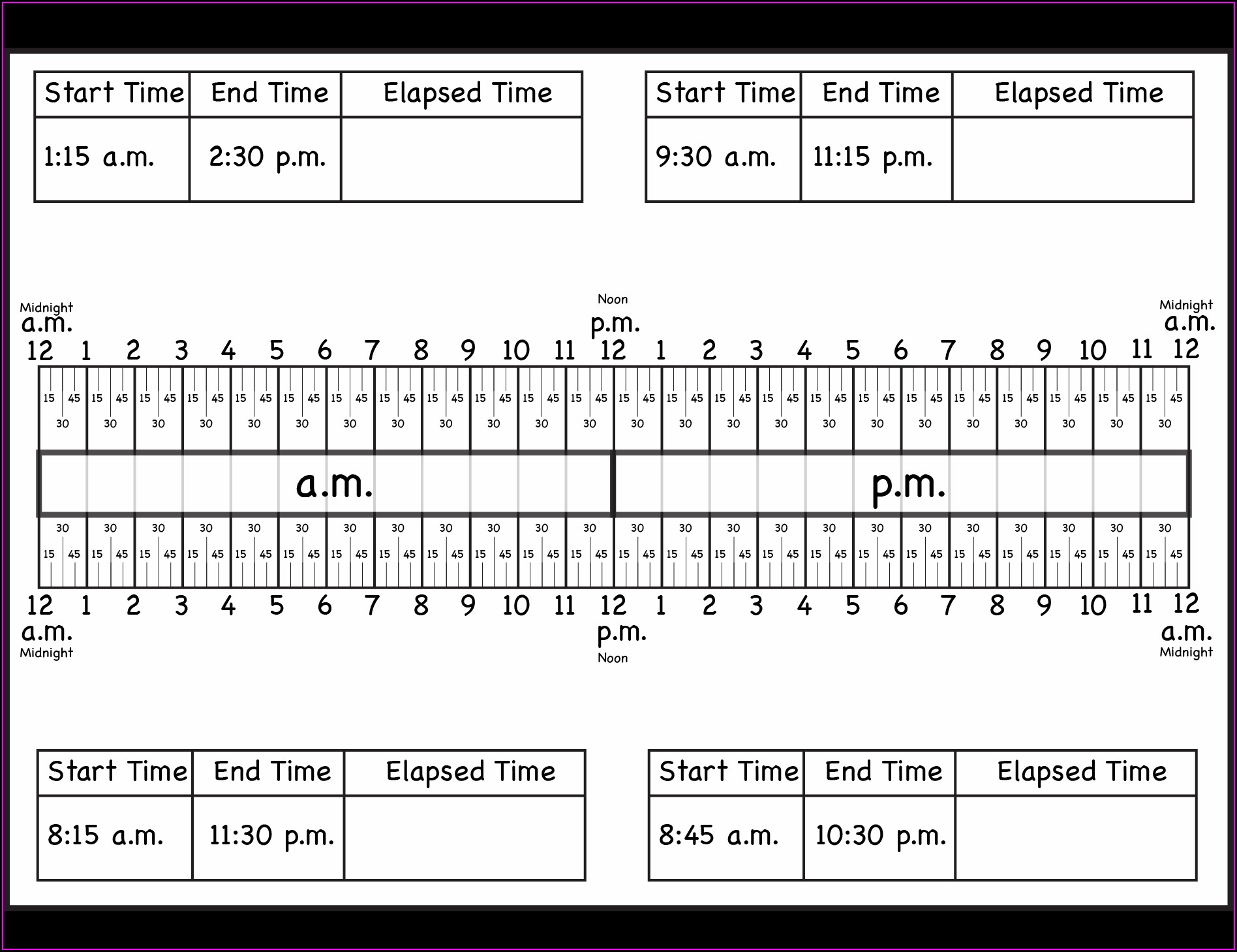 3rd Grade Elapsed Time Worksheets Free