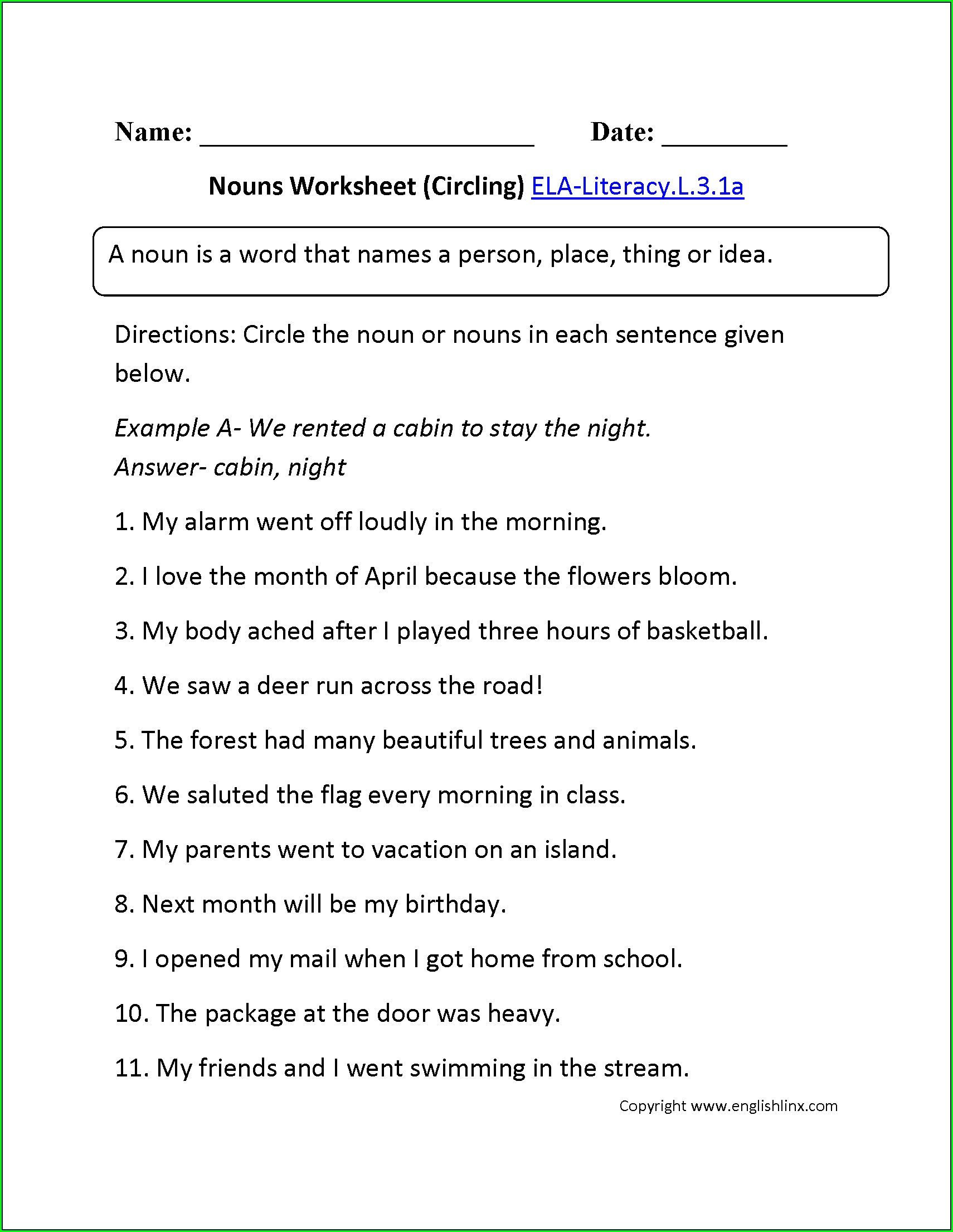 3rd Grade English Verb Worksheets