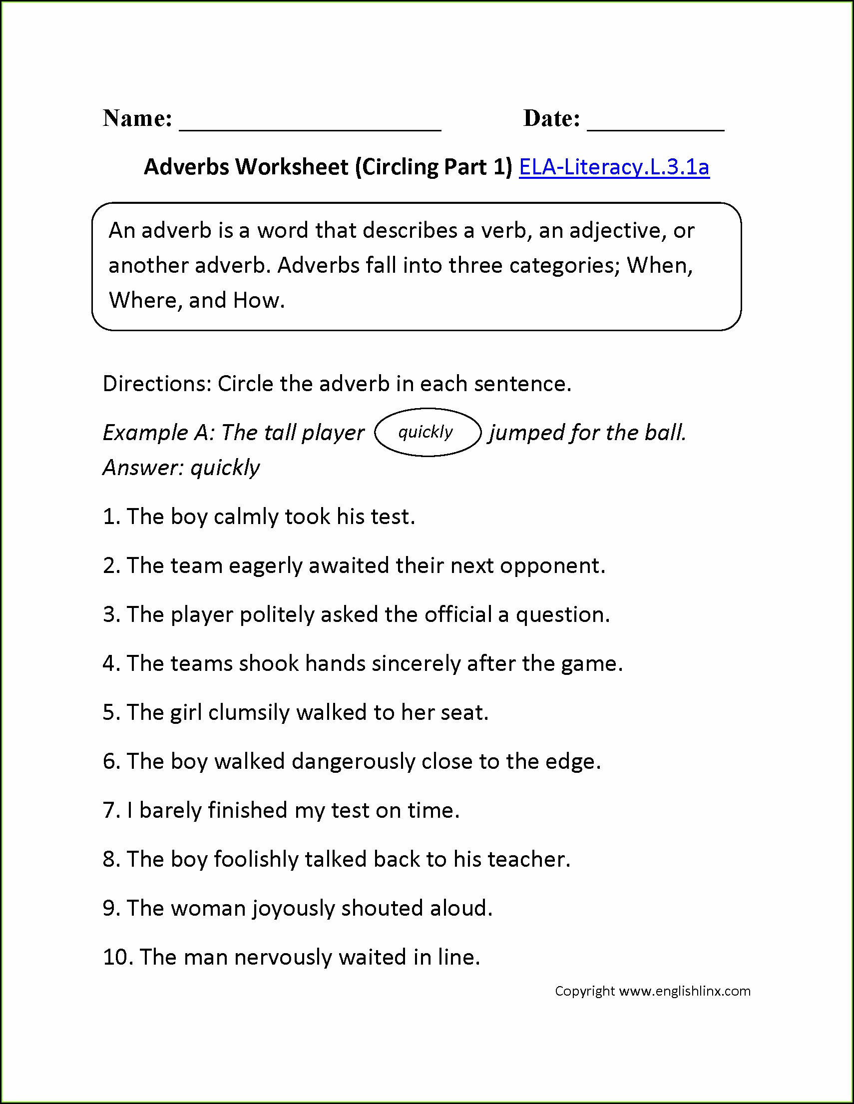 3rd Grade English Worksheets Printable