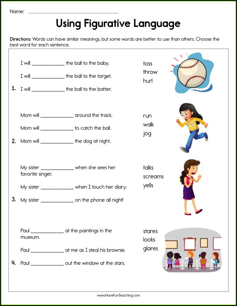 3rd Grade Figurative Language Worksheets