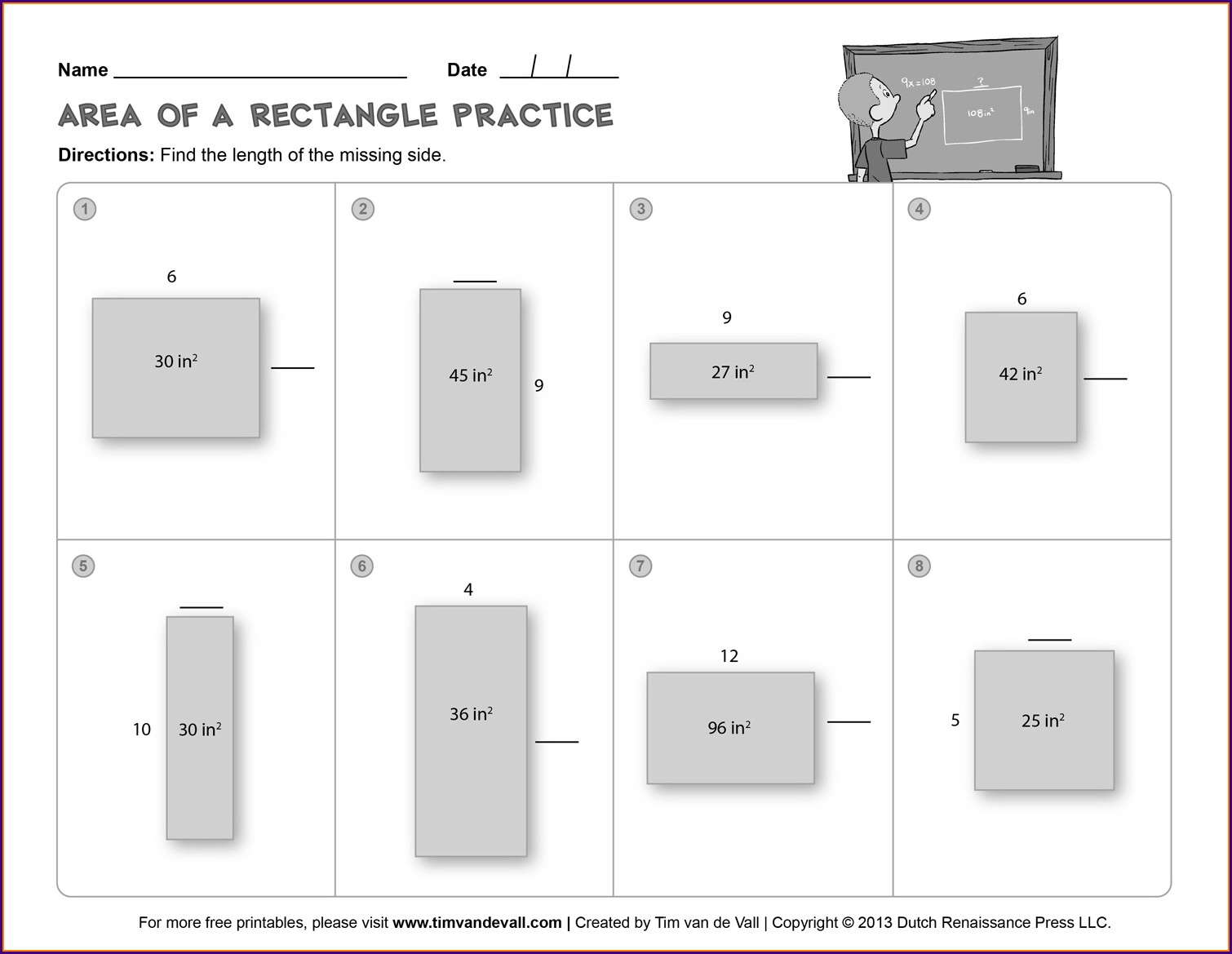 3rd Grade Free Area And Perimeter Worksheets