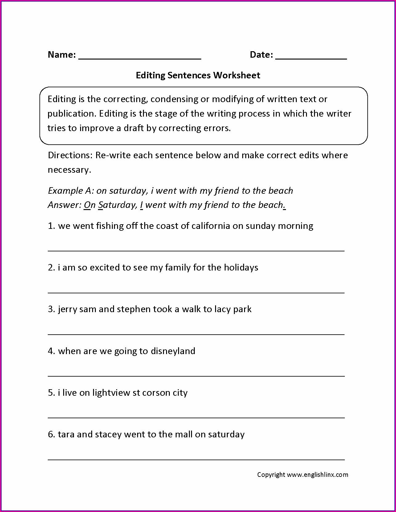 3rd Grade Free Sentence Writing Worksheets
