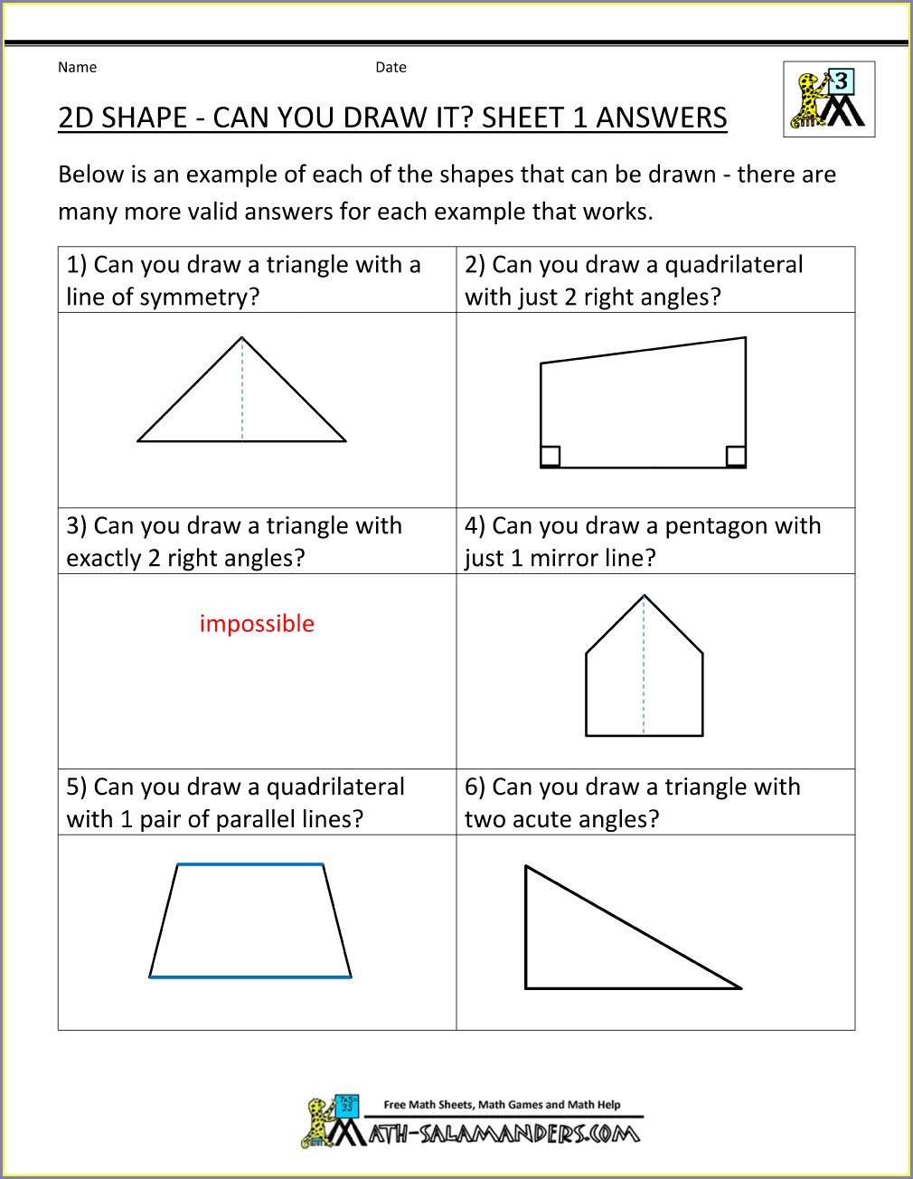 3rd Grade Geometry Worksheets Free