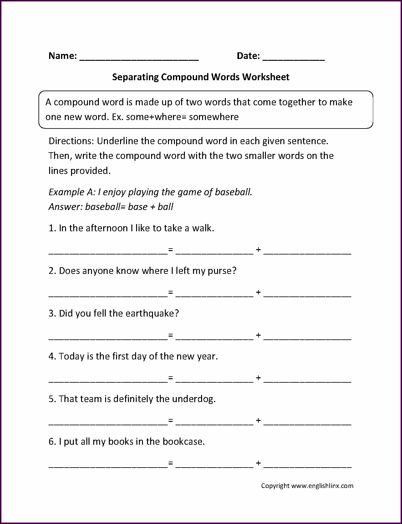 3rd Grade Grade 3 Compound Words Worksheet