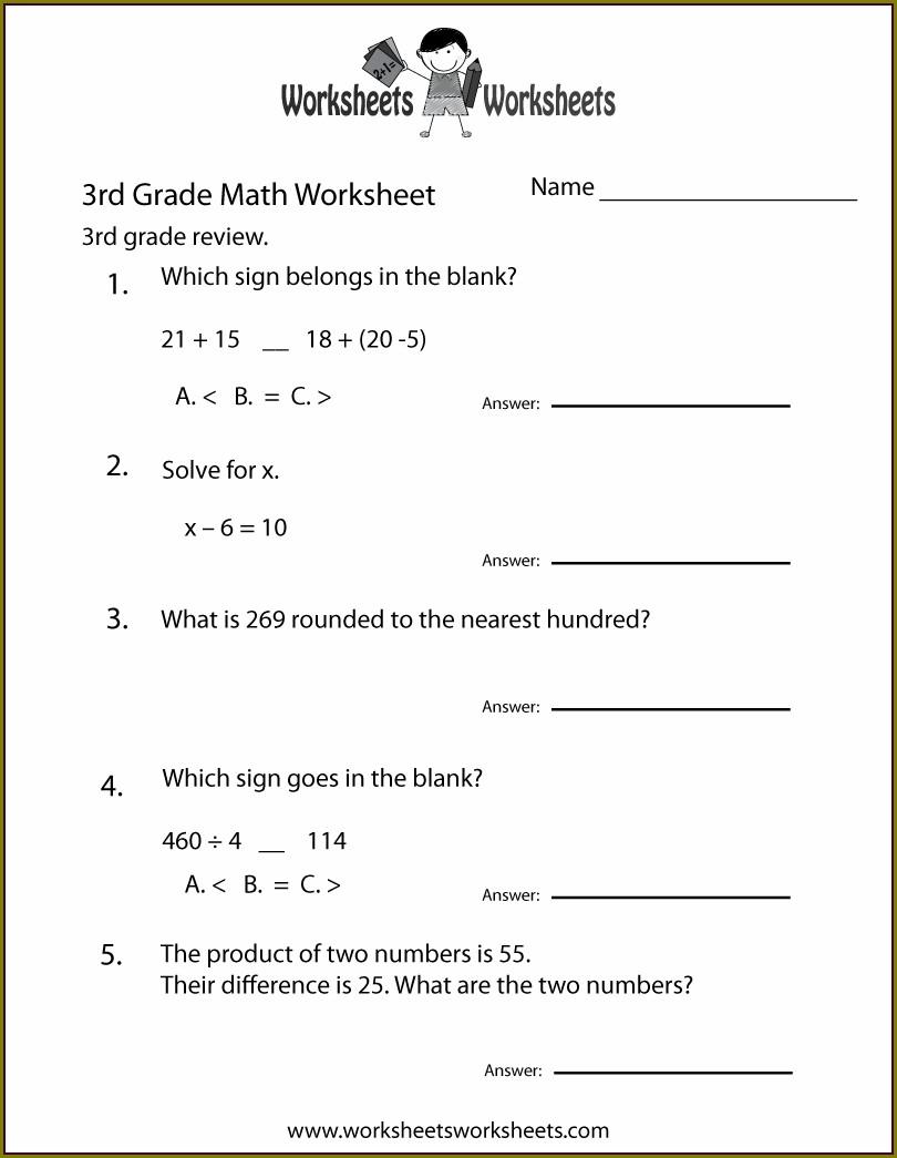 3rd Grade Grade 3 Math Worksheets Canada