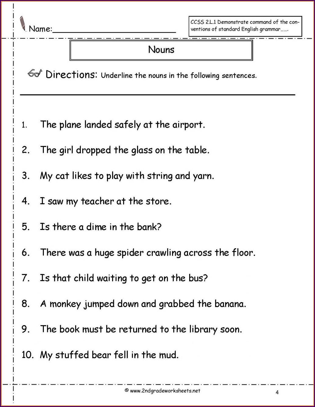 3rd Grade Grade 4 Nouns Worksheet