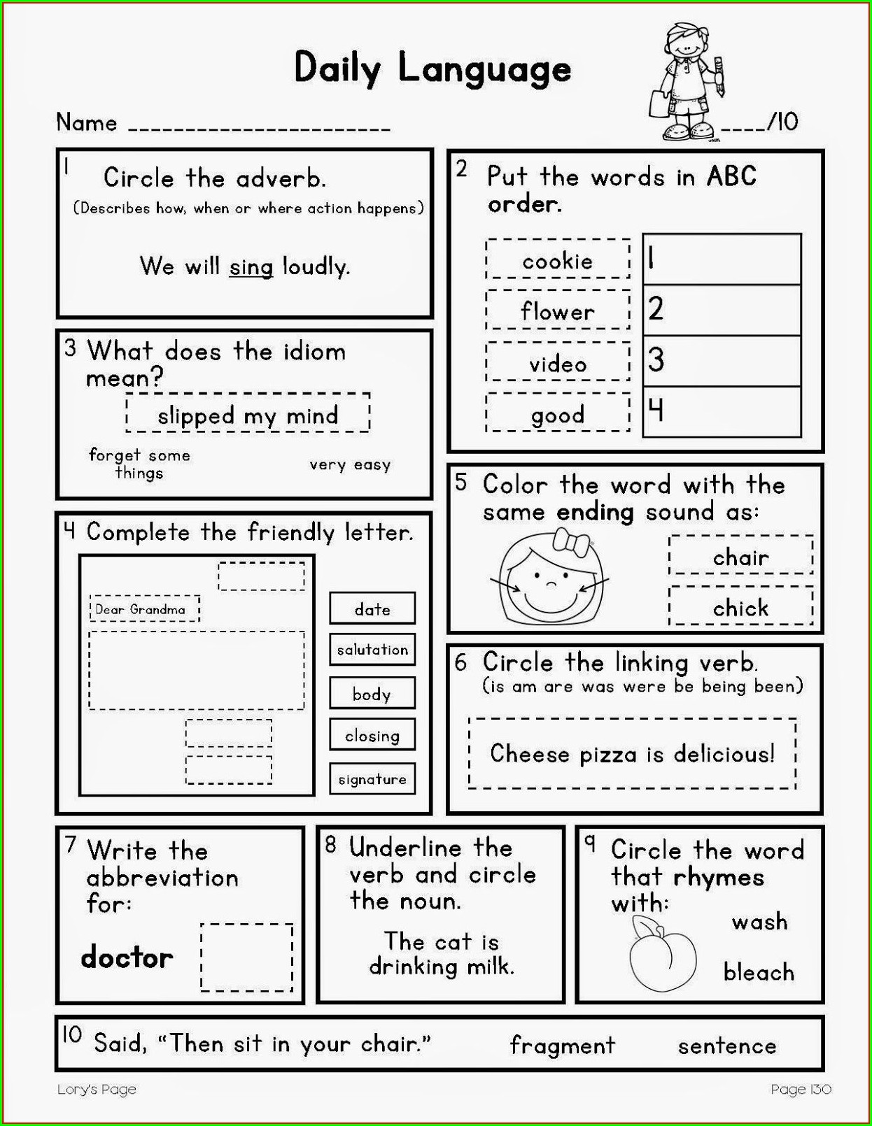 3rd Grade Grammar Review Worksheets