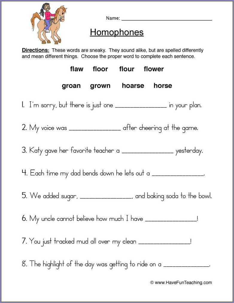 3rd Grade Homonyms Worksheets For Third Grade