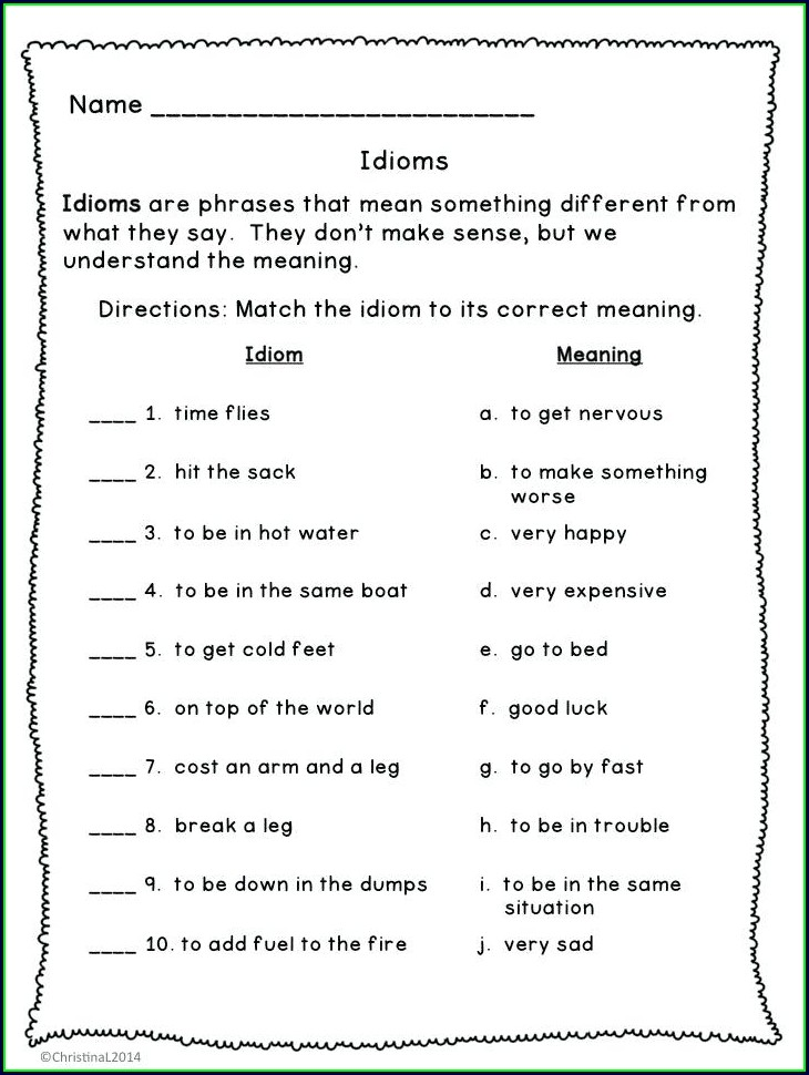 3rd Grade Idioms Worksheets