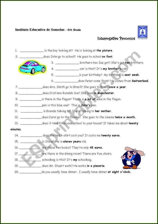 3rd Grade Interrogative Adjectives Worksheets