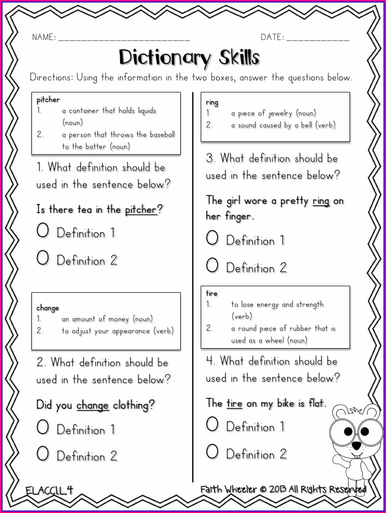 3rd Grade Library Skills Worksheets