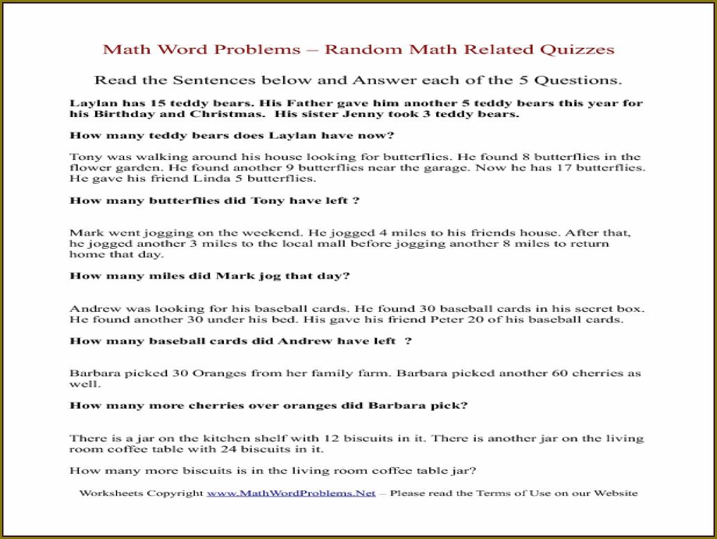 3rd Grade Math Word Problems Worksheet