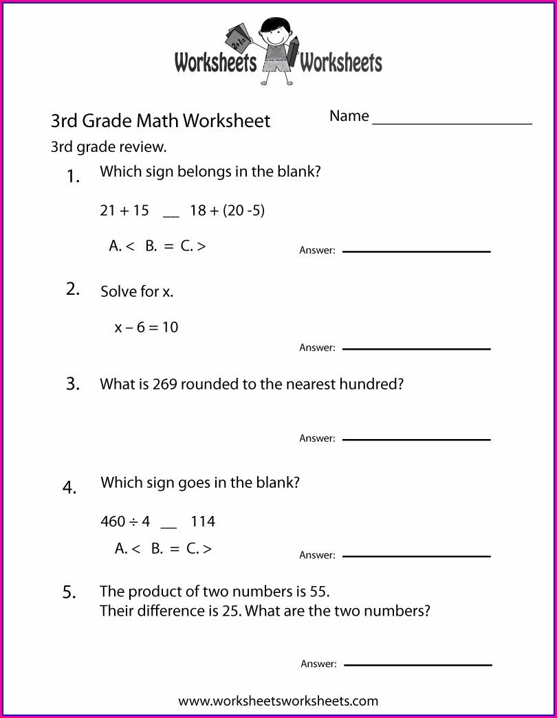 3rd Grade Math Worksheet Free