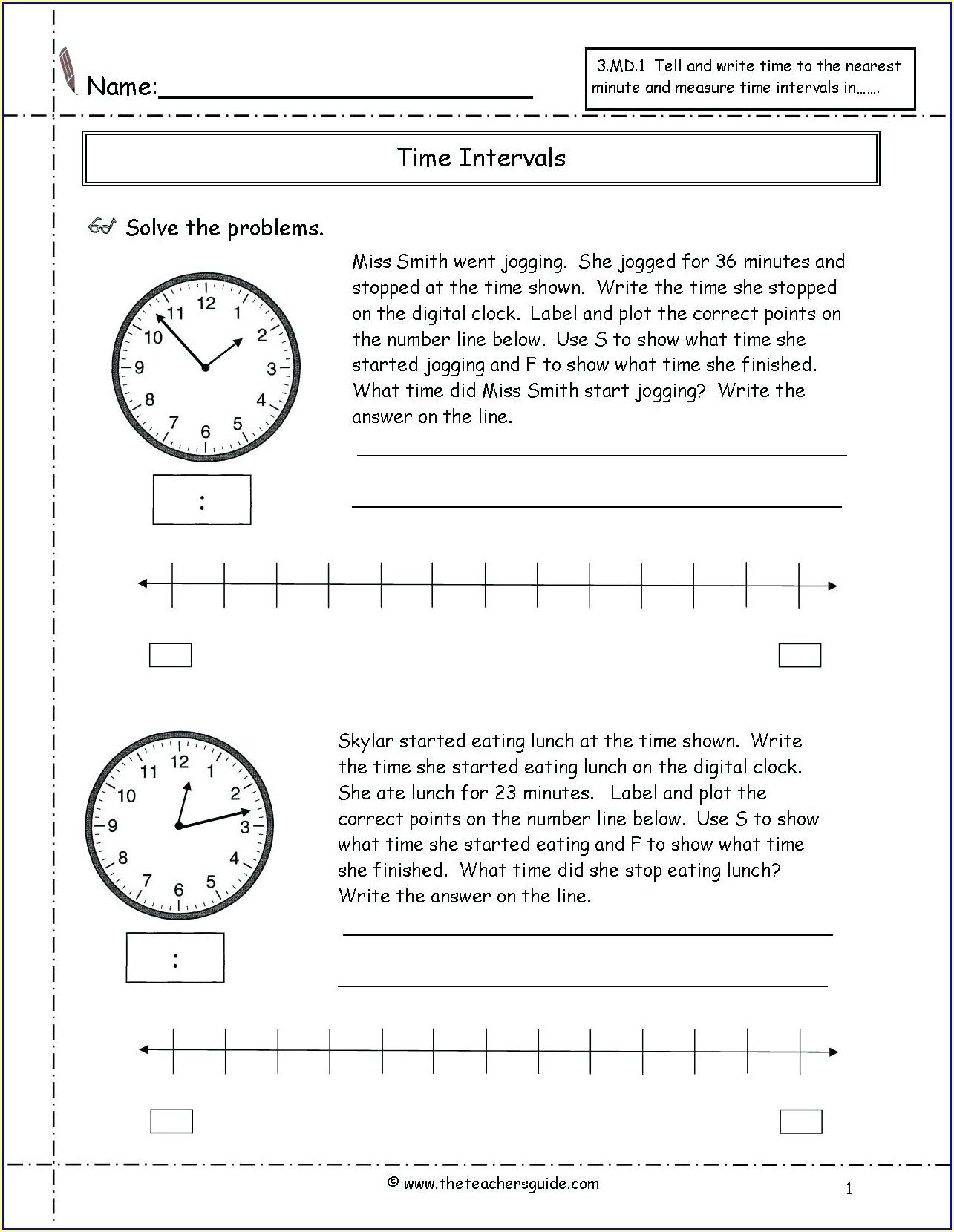 3rd Grade Math Worksheets Elapsed Time
