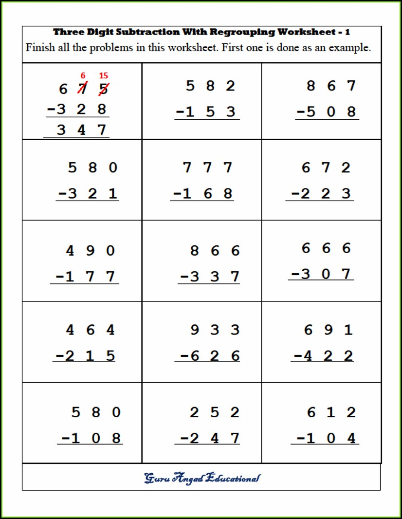 3rd Grade Math Worksheets Subtraction With Borrowing
