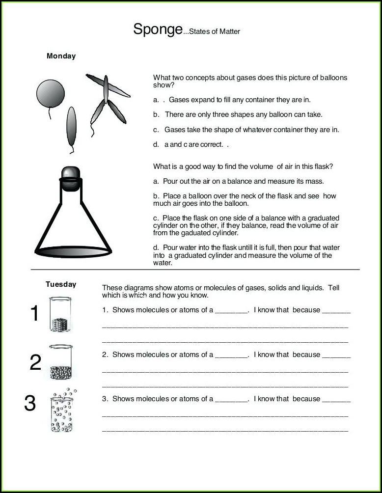 3rd Grade Matter Worksheets