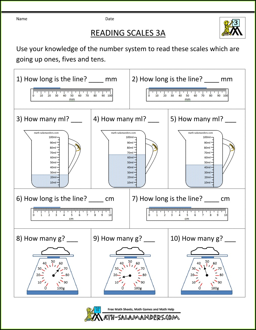 3rd Grade Measurement Capacity Worksheets