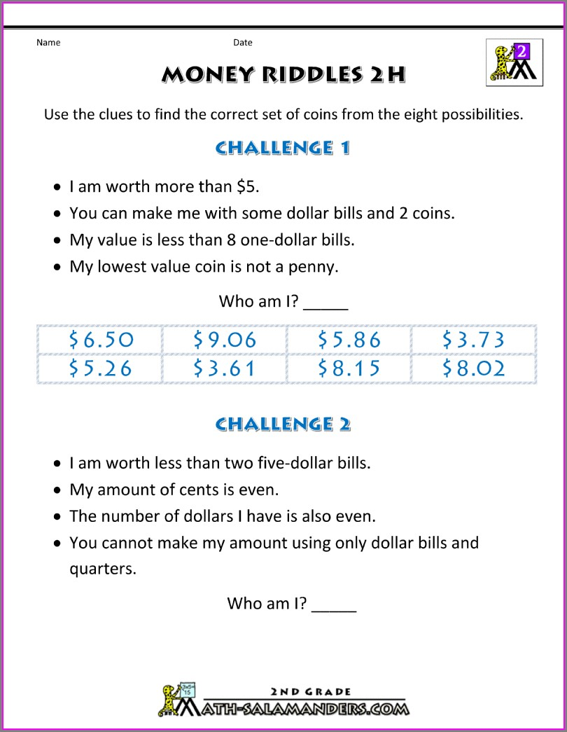 3rd Grade Money Math Worksheets