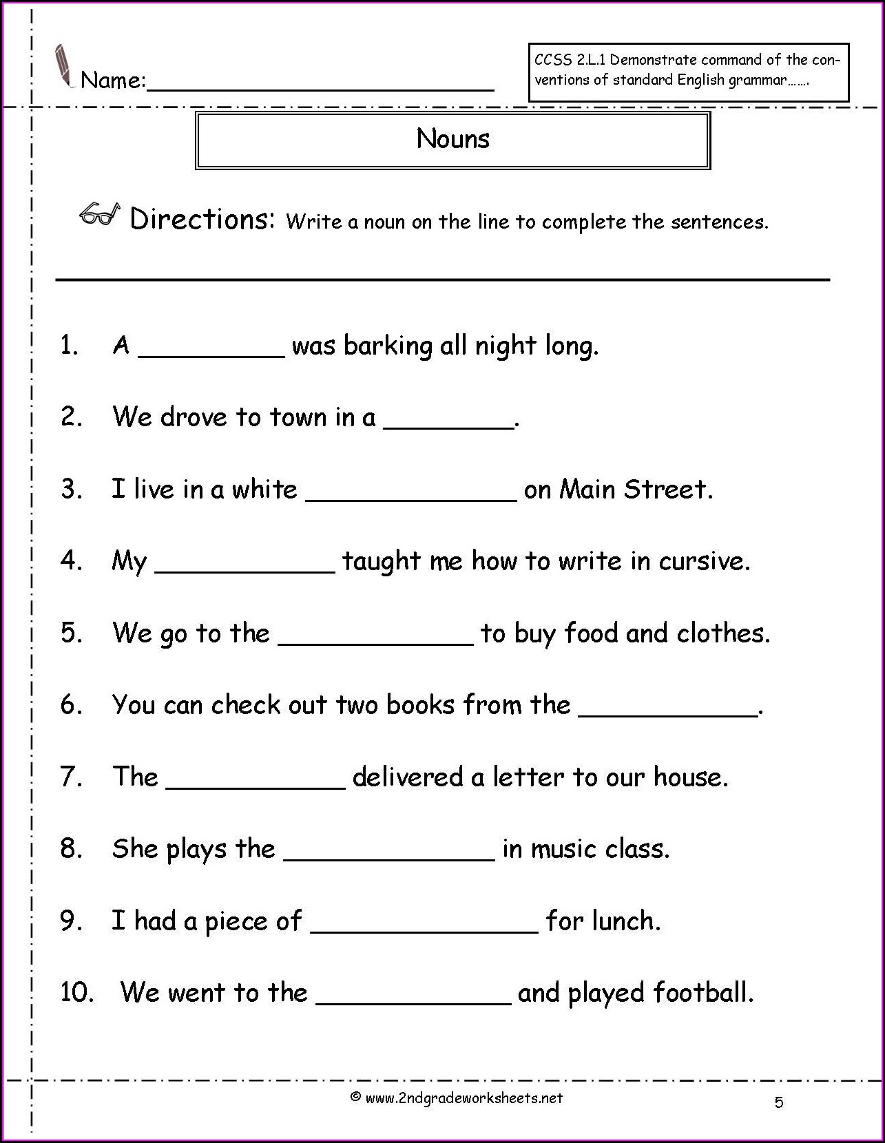 3rd Grade Noun Worksheet For Class 2