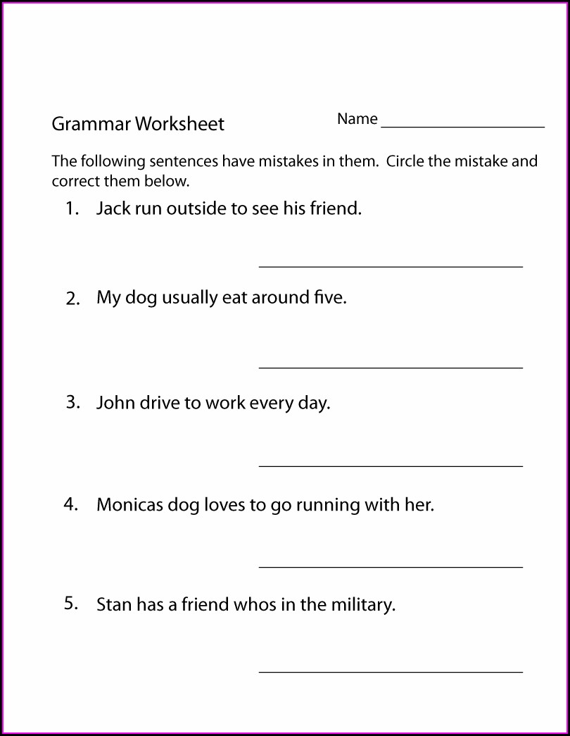 3rd Grade Noun Worksheets