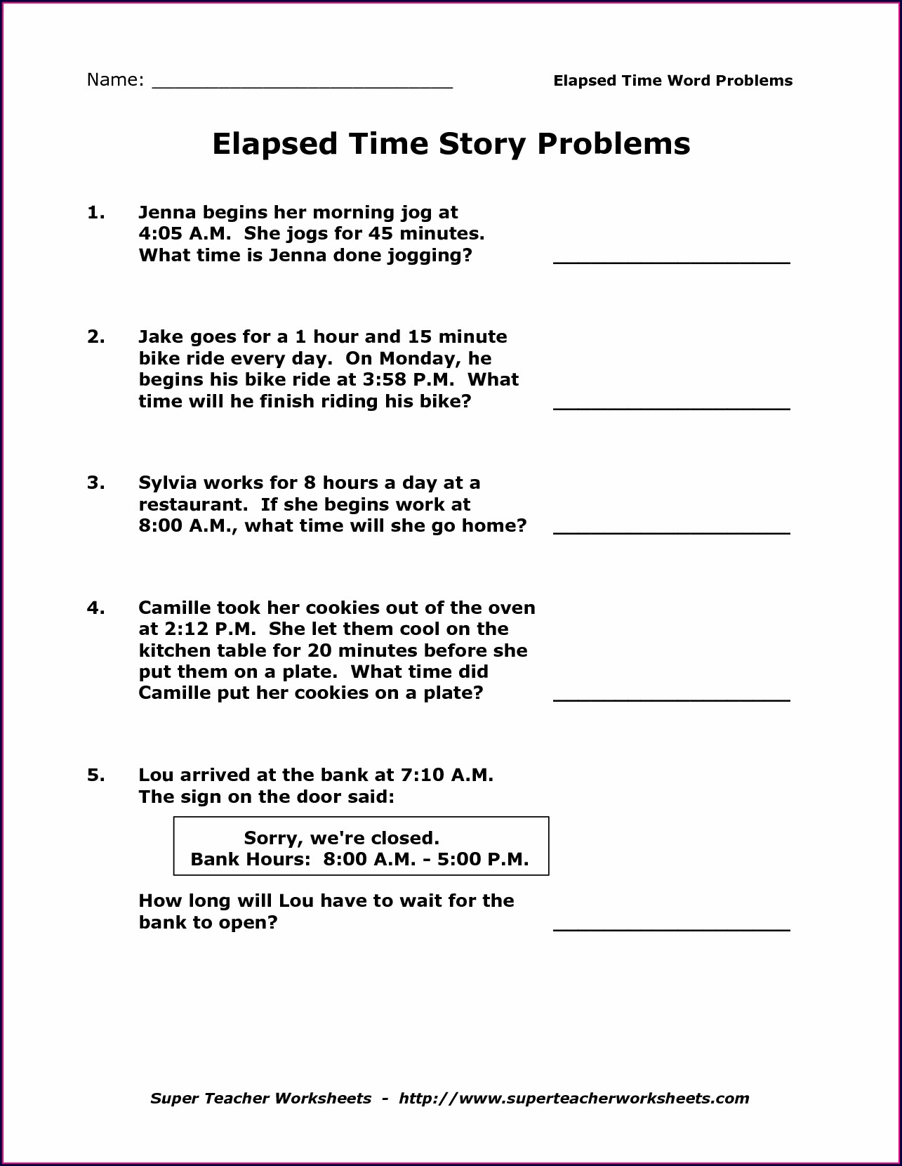 3rd Grade Printable 3rd Grade Elapsed Time Worksheets