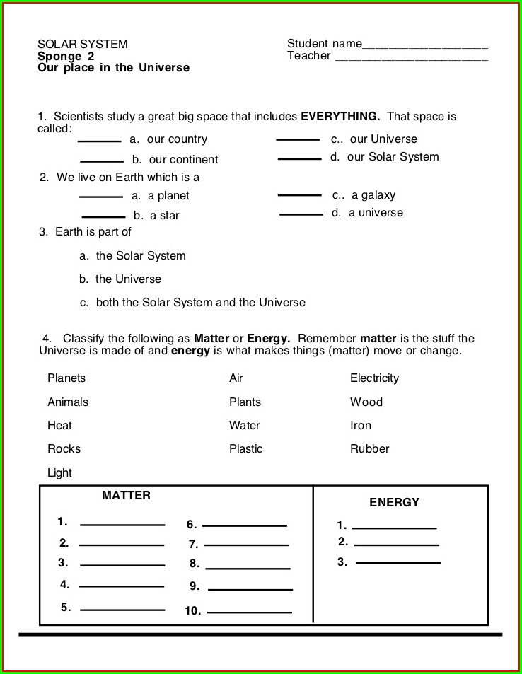 3rd Grade Printable Worksheet On Solar System For Grade 3