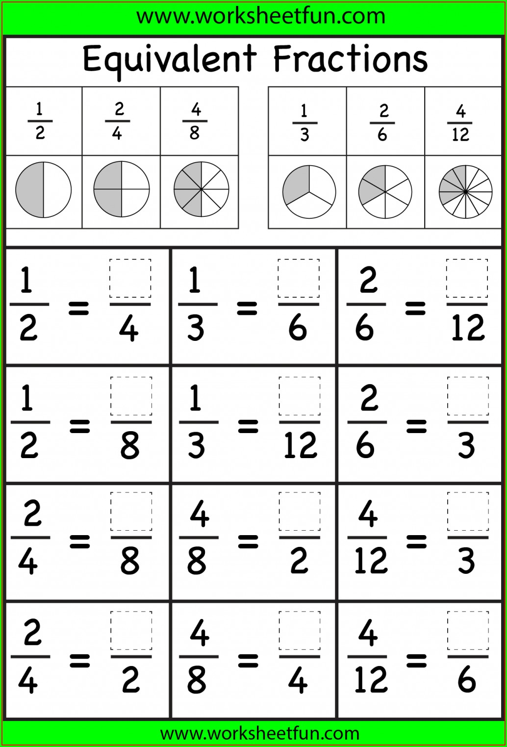 3rd Grade Printable Worksheets Fractions