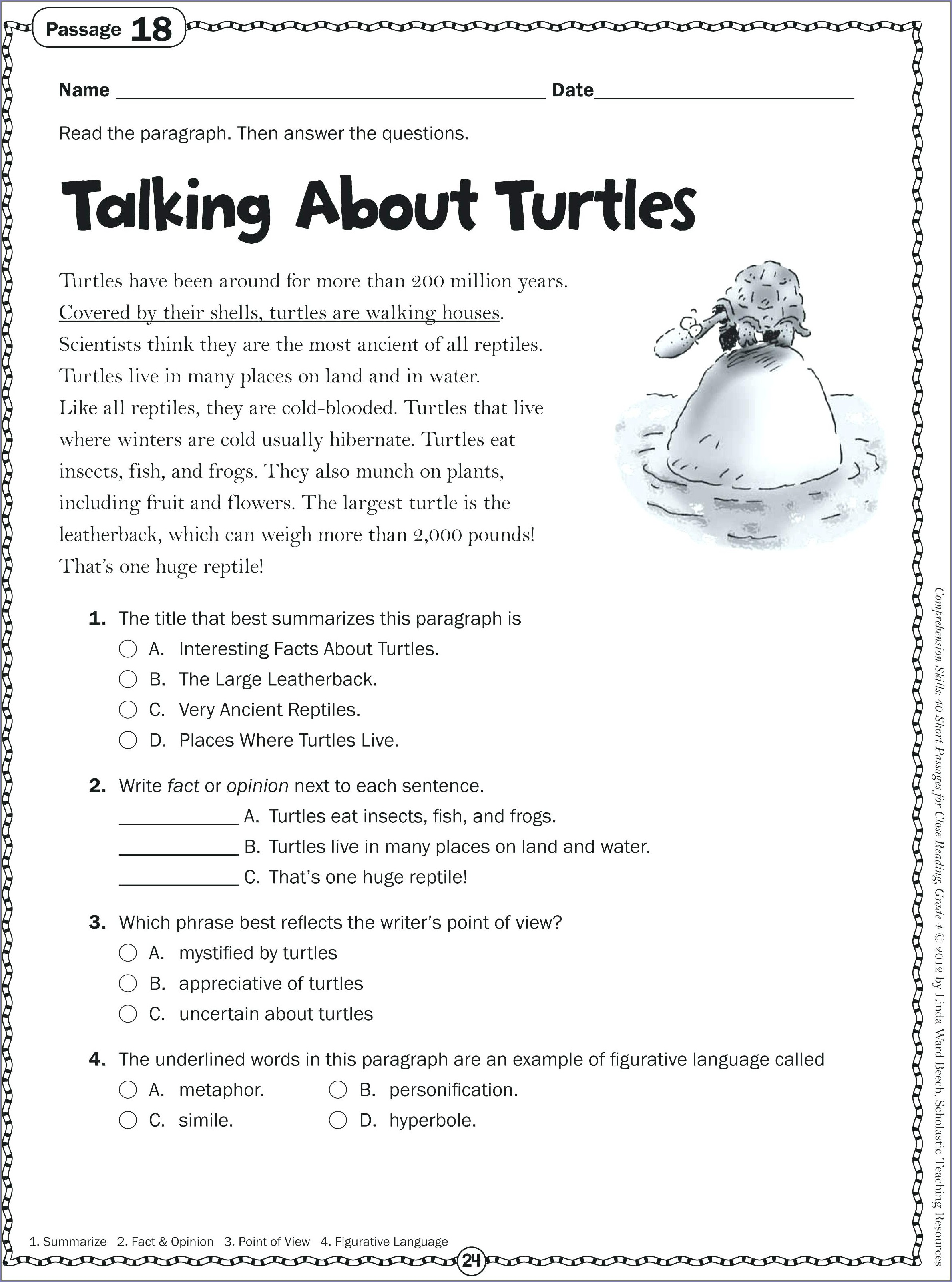 3rd Grade Printable Worksheets Reading