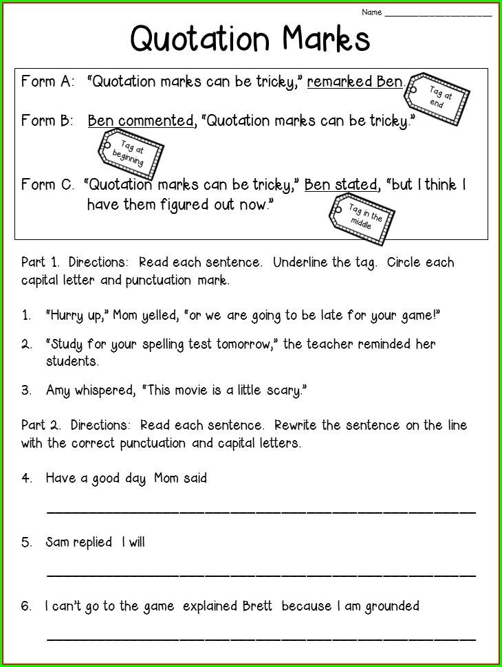 3rd Grade Quotation Marks Worksheets Pdf