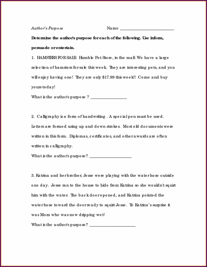 3rd Grade Reading Worksheets Authors Purpose