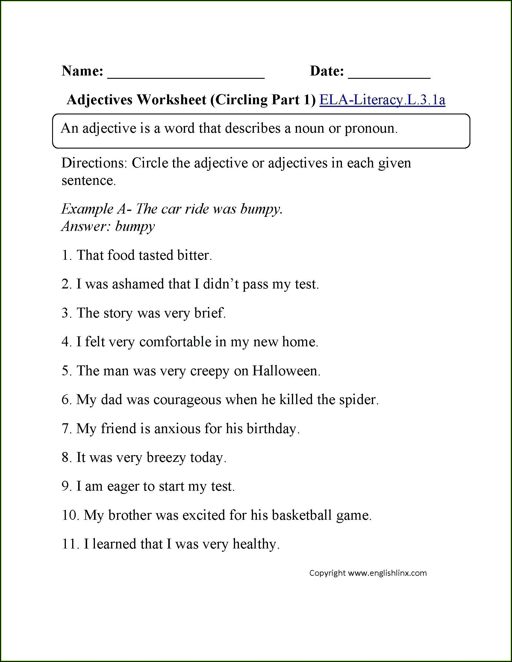 3rd Grade Series Of Adjectives Worksheets