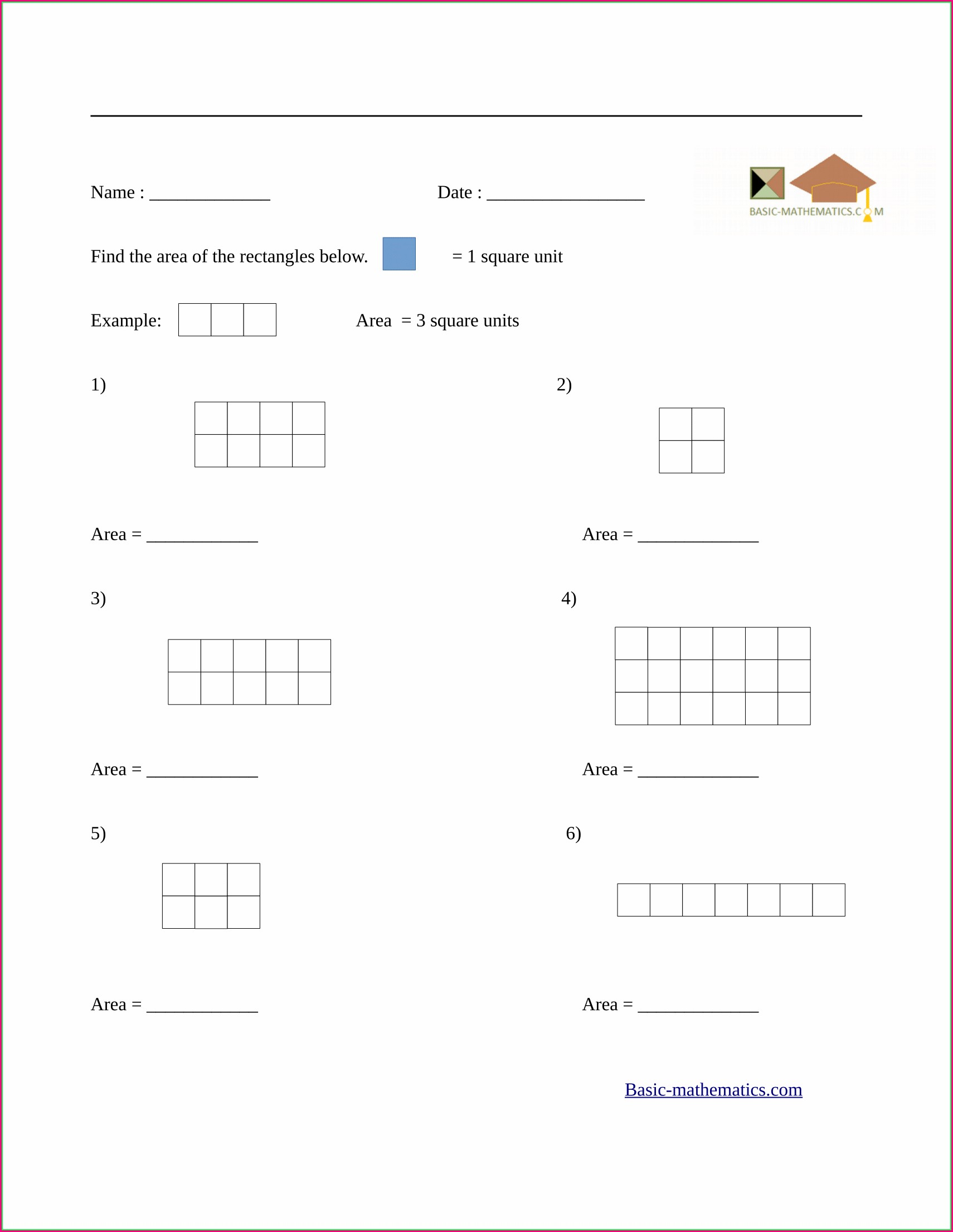 3rd Grade Square Units Worksheets