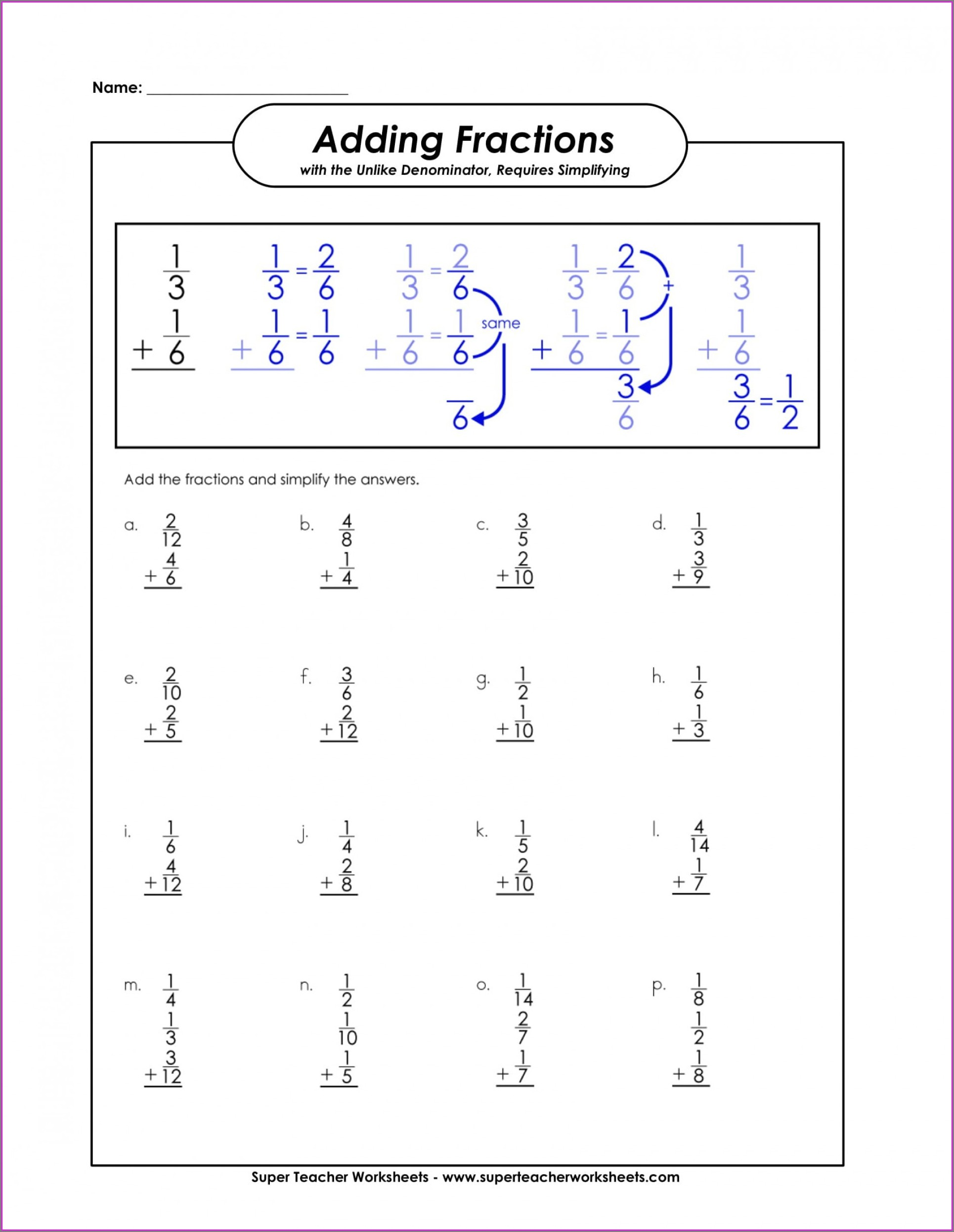3rd Grade Super Teacher Worksheets Fractions Answer Key
