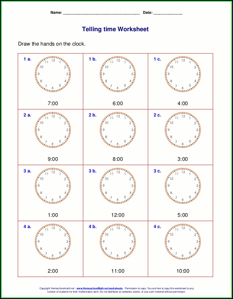 3rd Grade Telling Time Worksheets Pdf Free