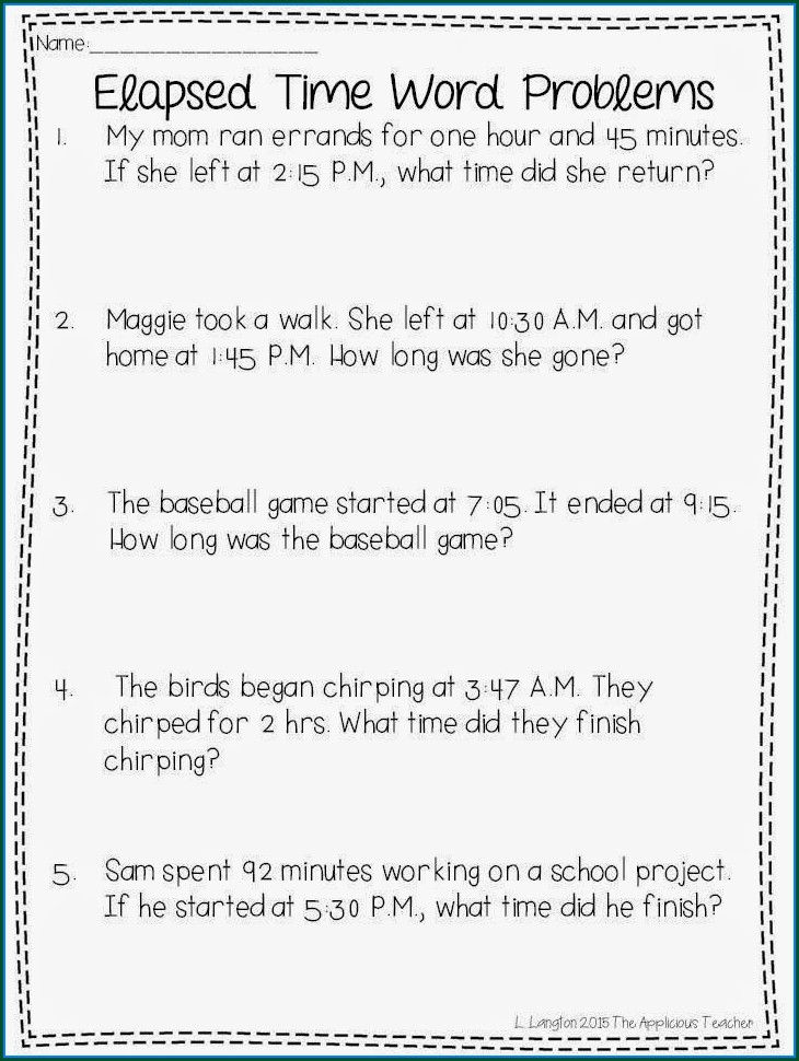 3rd Grade Time Word Problems Worksheets Grade 3