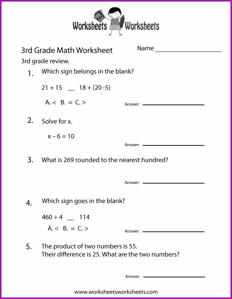 3rd Grade Worksheet Free
