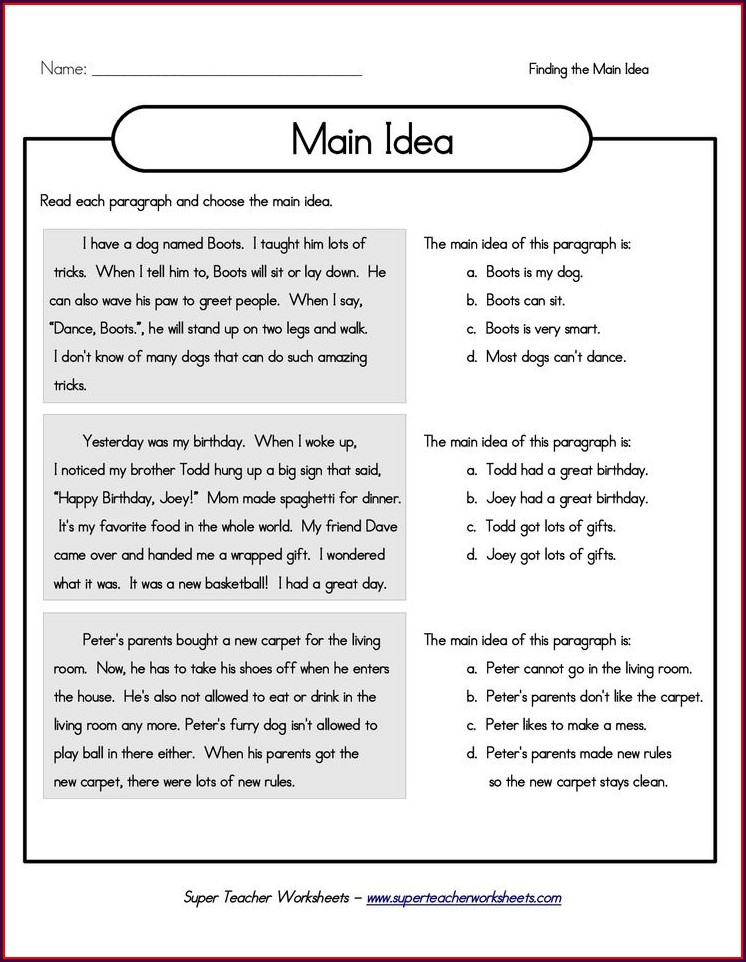3rd Grade Worksheet On Main Idea