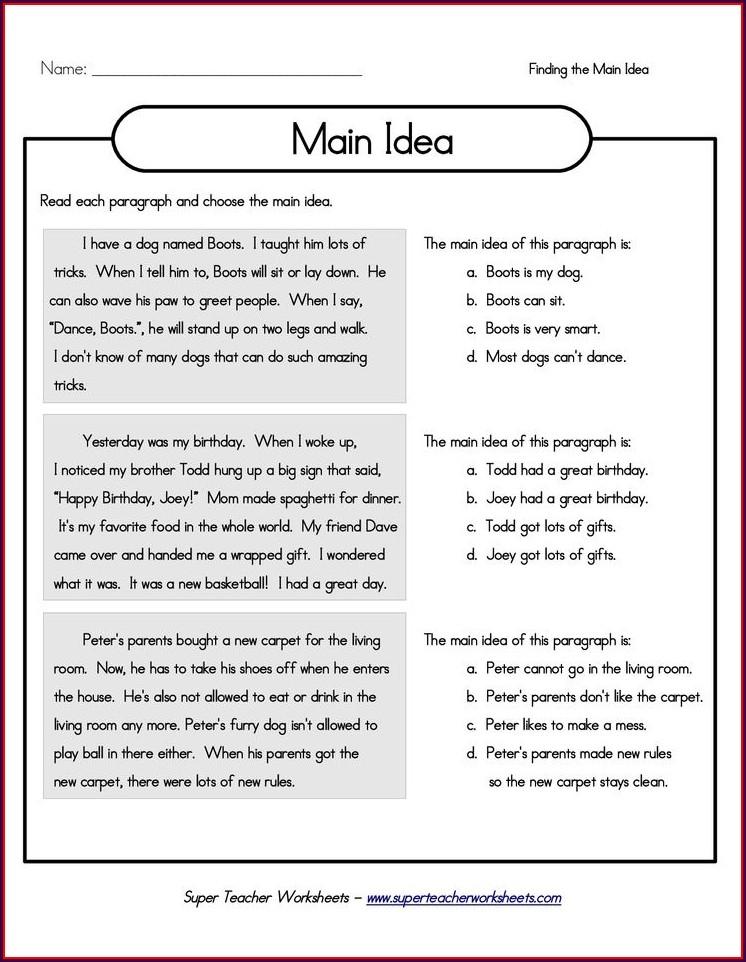 3rd Grade Worksheet On Main Idea