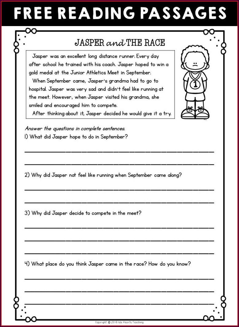 3rd Grade Worksheet Reading